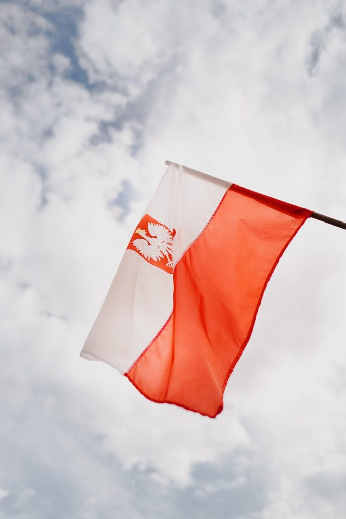 Polska flaga z orłem